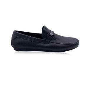 Authentic Salvatore Ferragamo Black Leather Cancun 2 Men Loafers 6.5 EEE US 40.5