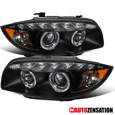 For 2007-2013 BMW E81 E82 E88 1-Series Black LED DRL Halo Projector Headlights