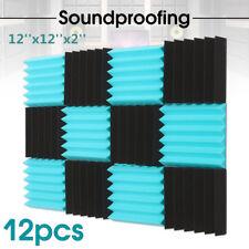 12 Pack Acoustic Foam Panel Soundproofing Sound Studio Wedge Tiles 12X12X2'' US