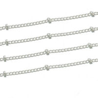 """3//16/"""" x 1//16/"""" Cable Chain Silver Plated Textured FD180 32 Feet"""