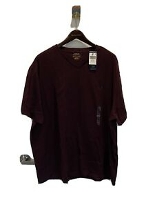 New Polo Ralph Lauren Red/Wine 100% Cotton V-neck T-shirt 2XB
