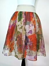 Edme Esyllte Womens Abstract Floral Watercolor Silk Skirt Size 2