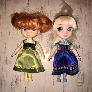 "Disney Store ANIMATOR Princess Mini Dolls FROZEN Anna & Elsa 5"" Tall"