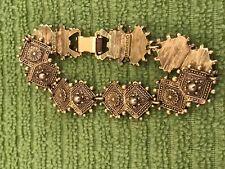 "Gold Tone Florenza Intricate Ornate Art Deco 7"" Bracelet"