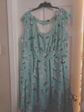 Women's Plus Size eShakti Dress, Size 5X 32W -- Aqua with Mod Birds