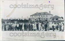 1954 Crowd in Line Outside Dionne Mansion Callander Ontario Press Photo
