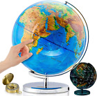 """GET LIFE BASICS World Globe with Stand - 13"""" Globes for Kids with Light Up Const"""