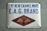 Vintage E.A.G Brand Enamel Ware Ad Porcelain Enamel Signboard
