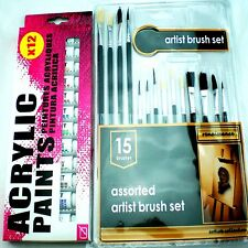 ARTISTS BRUSHES AND ACRYLICS PAINTS SET PICTURE TUBES COLORS KIT CRAFTS PAINTER