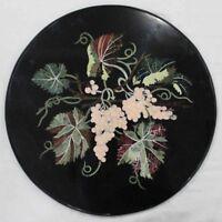 "30"" black Marble round Table Top Inlay Work marquetry Garden patio Decor"