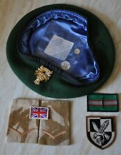 BRITISH ARMY INTELLIGENCE CORPS BERET 57cm 7-1/8'' SLIDES, 1 BRIGADE TRF PATCHES