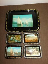 VINTAGE CANOE ISLAND LODGE DIAMOND POINT LAKE GEORGE NY 5 PIECE SERVING TRAY SET