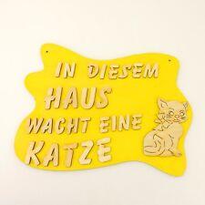 Türschild für Katzenfreunde Katze Holzschild, Spruch Wandschild Geschenk Gelb