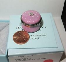 "Halcyon Days Miniature Tiny Pink Enamel Porcelain Trinket Box 15/16"" Nib"