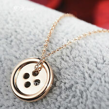 PENDANT NECKLACE 9K GF 9CT SOLID ROSE GOLD FILLED ROUND BUTTON SYDNEY STOCK