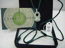 """CHINESE Carved Jade Pendant on 30"""" Silk Cord!  NEW~BOXED!!!!"""