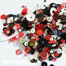 Mixed Cup Sequins 100+ Loose Sparkle Red, Black Silver