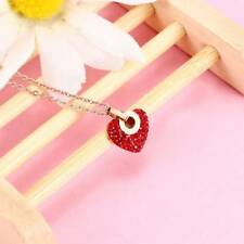 Fashion Lovely Created Red Crystal Roman Numerals Heart Pendant Necklace Jewelry