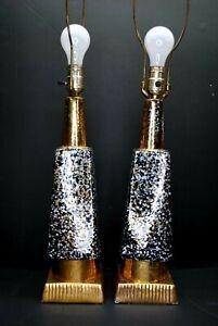 PAIR AUTHENTIC VINTAGE MID CENTURY RETRO PORCELAIN TABLE LAMPS GOLD GILD