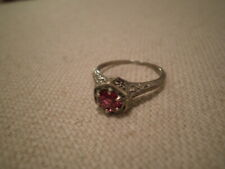 NICE Natural PADPARADSCHA  SAPPHIRE 18K WHITE GOLD Filigree RING