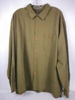 Arei Mens XL Olive Green Dress Long Sleeve Shirt Front Pocket Button Up