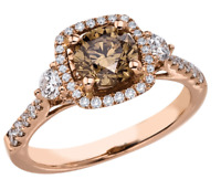 2.25 Ct Chocolate and White Diamond Engagement Wedding Ring 14K Rose Gold Over