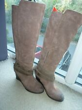 Emu Australia Boots Tan Brown Camel Leather Wedge High Boots Uk 7 Eu 39
