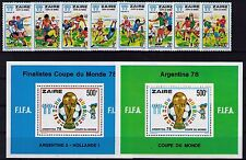 Congo Zaire 1978 FIFA World Cup Argentina set of 8 & 2x miniature sheets