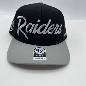 Las Vegas Oakland Script Raiders '47 Adjustable Black Gray Hat