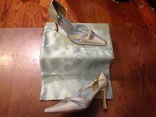 Grazia Ava Diamond White Silk Wedding Shoes Closed Toe Pumps ~ Sz 9 ~ NIB
