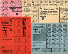 1 XXX-RARE MINT WW2 DATED UNCUT NAZI RATION SHEET w COUPONS Several Colors Avail