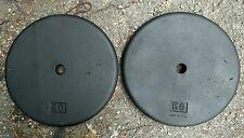 "Hoffmann Standard 50 lb Pair Weight Plates Vintage 1"" 2x50 lbs Pancake Flat USA"