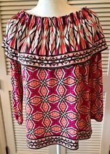 CHICOS  Peasant Blouse BOHO On- or Off-Shoulder Shawl Collar Size 2 (12)