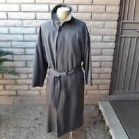 Sanyo Carol Cohen Wool Trench Coat Overcoat Mens 38R Removable Wool Lining Green
