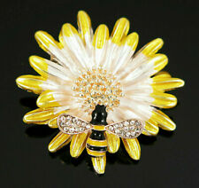 Delightful Sunflower BEE Blossom Rhinestone Enamel Vintage Inspire Brooch Yellow