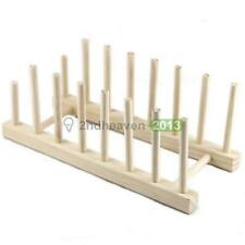 Wooden Plate Rack Wood Stand Display Holder Lids Holds 7 New Heavy Duty BEST