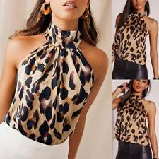 Sexy Ladies Leopard Print Leotard Top Womens Sleeveless Loose Bodysuit Jumpsuit