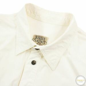 Robert Comstock Ivory White Cotton Snap Buttons Italy Dress Shirt XL