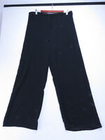 A-109 VINTAGE 80s AUSSIE MADE SUPRE BLACK SHEER WIDE LEG PALAZZO PANTS SIZE 18