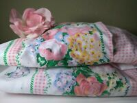Set of 2 Vintage Shabby Chic Pink Roses blue flower's Curtain Panel's  💐