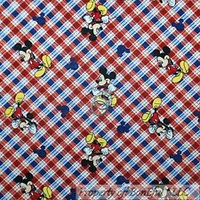 BonEful Fabric FQ Cotton Quilt White Red Blue DISNEY Mickey Mouse Plaid Stripe S