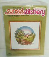 Vintage Sunset Stitchery Country Meadow Cross Stitch Kit Farm Red Barn Cows 2800