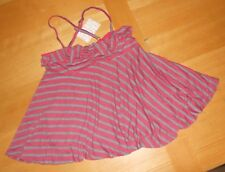 NWT Free People red gray combo striped BOHO BURNOUT FLOWEY Cami Tank Top XS $58