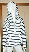 American Eagle Hoodie Juniors Large Navy White Stripe 1/2 Zip Pullover W/Pocket