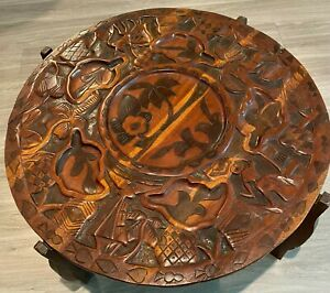 Vintage Handmade Carved Wood Double Sided Cocktail Coffee Table Island Theme