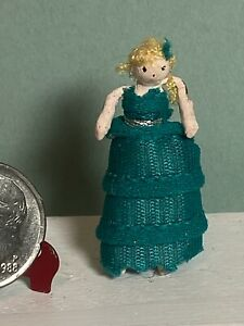 """Artisan Vintage Wood & Wire 1"""" Doll with Braid Dollhouse 1:12 Handmade Blue Gown"""