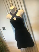JANE NORMAN Stunning Black Peplum Stretch Dress Size 10 NEW with Tags