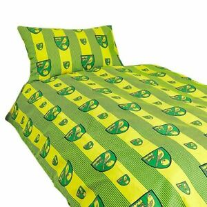 Norwich FC Single Duvet Cover and Pillowcase Set Pinstripe Design