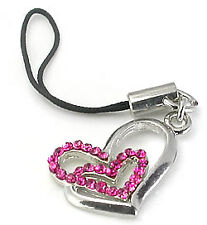 PINK Double Heart Wholesale Cell Phone Charms