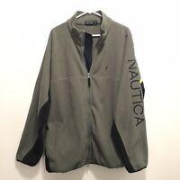 Nautica Mens Full Zip Fleece Sweatshirt Jacket Grey/Blue 2XL Colorblock Spellout